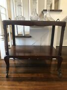 Antique Rolling Bar/serving Cart W/casters And Tray Insert Seamlessly Blends In