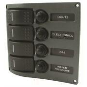 Boater Sports 51318 Boat Led 4 Switch Gang Panel Electrical Water Resistant