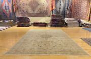 Antique 1940-1950and039s Distressed Wool Pile Muted Colors Oushak Area Rug 7x10ft