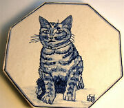 Antique Tile Signed Kitty Cat Hp Pottery Trivet Tile Galle Style Help Identify