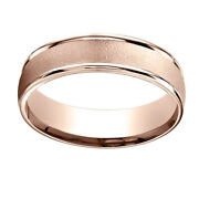 14k Rose Gold 6mm Comfort-fit Wired-finished High Polished Band Ring Sz-10