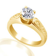 Round Simulated Diamond Solitaire Vintage Ring 14k Yellow Gold