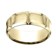 18k Yellow Gold 8mm Comfort Fit Edge Concave W/ Horizontal Cuts Band Ring Sz 9