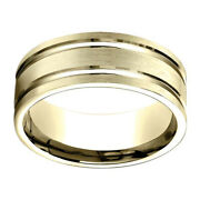 14k Yellow Gold 8.00 Mm Comfort-fit Engagement And Wedding Band Menand039s Ring Sz-10