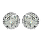 Sterling Silver 5.25 Ct Round Genuine Moissanite Halo Stud Earrings W/push Back