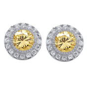 Sterling Silver 3.25 Ct Golden Moissanite Halo Stud Earrings With Push Back