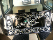 4and039x2and039 Black Marble Coffee Table Top Mother Of Pearl Elephant Design Christmas