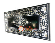 4'x2' Black Marble Restaurant Center Table Top Mother Of Pearl Inlay Decor E1143