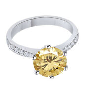 Sterling Silver 5.25 Ct Golden Genuine Moissanite Engagement Bridal Ring Jewelry