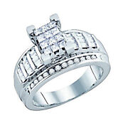 10k Pure White Gold 7/8ct Princess Baguette And Round Real Diamond Engagement Ring