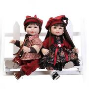 2pcs 22and039and039 Reborn Baby Boy Girl Doll Likelife Soft Silicone Vinyl Toy Kids Gifts
