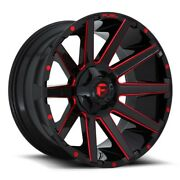 Set Of 4 Fuel Wheels D643 Contra 22x10 6x135/139.7 -19 Gloss Milled Red