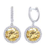 3 Ct Golden Moissanite Sterling Silver Hoop Halo Solitaire Dangling Earrings