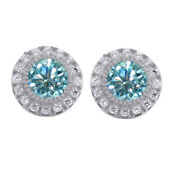 Sterling Silver 2.25 Ct Light Blue Moissanite Halo Stud Earrings With Push Back
