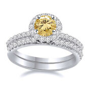 Sterling Silver 6 Ct Golden Moissanite 2 Piece Halo Engagement Bridal Ring