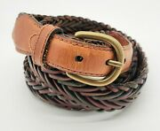 Canterbury Men's Vintage Brown Multicolor Braided Leather Brass Buckle Belt 40