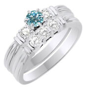 6 Ct Round Light Blue Moissanite Three Stone Bridal Set Ring In Sterling Silver