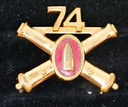 74th Artillery Crossed Cannons Pin Insignia 1 1/4 Wide