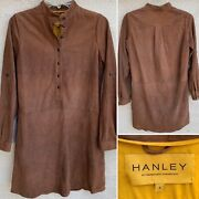 Hanley Suede Shirt Dress Long Sleeve Roll Up Sleeve Henley Style W/ Pockets 4