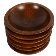 Woodcroftery Wooden Bowl Set Of 6 Vintage Mid Century Modern Solid Salad Snack