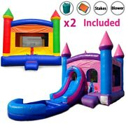Pogo Premium Inflatables Rainbow Bounce House And Pink Water Slide Combo And Blowers