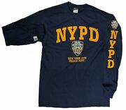 Nypd Kids Long Sleeve Police Gift T-shirt Navy Yellow Officially Licensed Boys