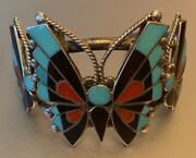 Zuni Reyes Neha Butterfly Channel Inlay Bracelet 6-1/4 And Matching Ring Size 6