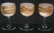 Steven Maslach Earth Art Glass Set Of 3 Wine Goblets Signed And Dated 6-77 Mint
