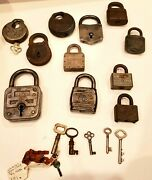 Lot Of 11 Vintage And Antique Locks And 7 Non-matching Keys