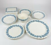 Lot 8 Wedgwood Queensware Etruria Embossed Lavender Blue Plate Saucer Cup Box