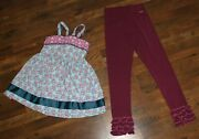 Matilda Jane Lot Size 14 Paint By Numbers Plum Icing Leggings Parade Pontoon Top