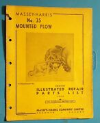 Vintage Massey-harris Tractor No-35 Mounted Plow Illustrated Parts List 1952