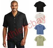 Mens Classic Camp Shirt Bowling Retro Stain Resist Vent Pocket Button Down S535