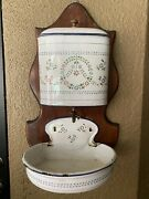 Vintage French White And Floral Enamelware Wall Water Tank W/ Bowl Basin