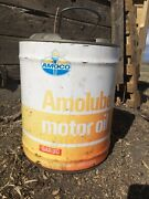 Vintage Original Standard Amoco 5 Gallon Amolube Motor Oil Can With Pour Spout