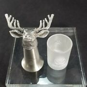 Jagermeister 10-point Pewter Stainless Buckhead And Frosted Shot Glasses Barware