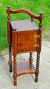 Edwardian Antique Arts And Crafts Smoke Stand Humidor Accent Table Cabinet