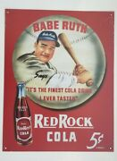 Babe Ruth Tin Sign Red Rock Cola