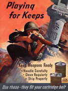113986 Military War Weapon Care Playing For Keeps Decor Laminated Poster Fr