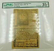 Pair May 5 1780 8 Massachusetts Colonial Currency Note Pmg35 Ch Ma-284