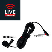 Lightning Clip Type Lapel Microphone Record Personal Live Cable 3m