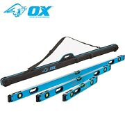 Ox Tools P028603 Pro Spirit 3 Piece Level Set With Case - 600mm 1200mm And 1800mm