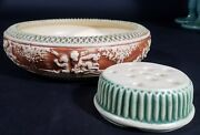 Roseville Pottery Donatello Low Bowl And Flower Frog 8 1/2 Wide