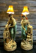 Mid Century Royal Dux Reproduction Chalkware Table Lamp Boy And Girl Water Well