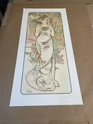 Alphonse Mucha 1970and039s Lithograph Andldquo Rose Andldquo Limited Ed. With Chop Fine Art Print