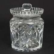 Signed Waterford Cut Crystal Lismore Lidded Cookie Biscuit Barrel Jar 7 Tall