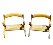 Pair Of Antique Portuguese Wicker And Gold Suede Vintage Low Accent Chairs