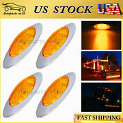 4x Amber 6.5 For Freightliner Mack Lorry Led Side Marker Truck Clearance Lights