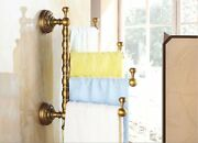 Solid Brass Antique Towel Rack With Hooks Active Four Bars Bathroom Accessory