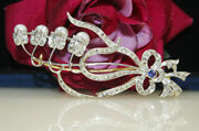 5.20cts Rose Cut Diamond Sapphire Pearl Antique Victorian Look Silver Brooch Pin